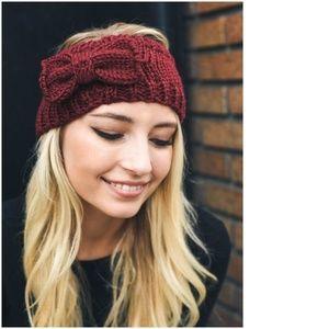 rosie // bow knit headband ear warmer in burgundy